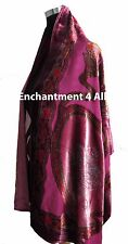 Elegant 100% Silk Burnout Velvet Circle Art Oblong Scarf Wrap, Pink