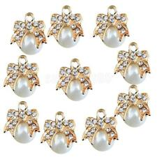 10pcs Bow Pearl Rhinestone Pendant Charms for DIY Necklace Jewelry Crafts