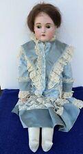 "Antique Kestner Bisque Doll ""14 166"" Fancy Blue Dress 27"" Tall Leather Body"
