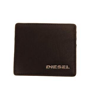 DIESEL JOHNAS I Leather Wallet Card Holder Case Black Grainy Embossed Logo
