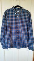 759 - Men's Goodfellow & Co.Blue Plaid Slim Fit Long Sleeve Shirt Cotton S, XL