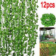 12PCS Artificial Ivy Leaf Trailing Vine Fake Foliage Flower Hanging Plant Decor