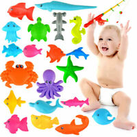 Funny Fishing Rod Magnetic Fish Net Game Set Kids Baby Bath Time Educational Toy