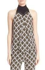 A.L.C. Women's Top 6 Ava Print Sleeveless Crochet 100% Silk Geo Print $395 NWT
