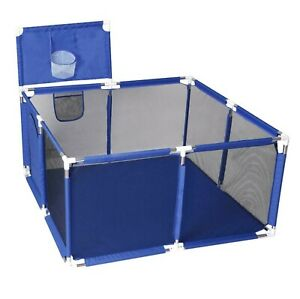 BLUE BABY PLAYPEN 4 SIDES PANELS KIDS ACTIVITY CENTER SAFETY PLAY YARD PEN
