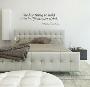 Audrey Hepburn Quote The best thing to hold onto in life love wall art sticker