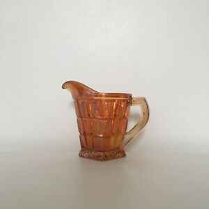 Vintage c1940s Marigold Carnival Glass Milk Jug Creamer Quartered Block Pattern