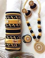 4 En Tono Dorado De Metal Verde Hilo De Seda Tajadera Brazalete Set Nuevo De India Joyas De Moda 2