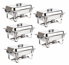 5 PACK  DISH SETS 8 QT CATERING STAINLESS STEEL CHAFER CHAFING FULL SIZE BUFFET