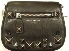 MARC JACOBS BLACK RECRUIT CHIPPED STUDS SADDLE CROSSBODY BAG NEW TAGS WRAPPED