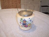 Flosmaron Vintage Pottery Biscuit Barrel with Handle & Lid