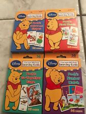Lot Of 4 Disney'S Winnie The Pooh Learning Cards Words, Numbers,Colors,& Shapes