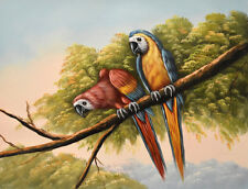 Original oil painting - TWO MACAWS Christian Petit - 42x32 cm
