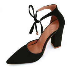 Fashion Women Pointed Toe Shoes High Heel Strap Chunky Block Suede Sandals Large