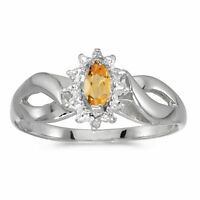10k White Gold Marquise Citrine And Diamond Ring