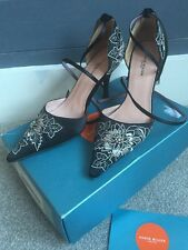 Karen Millen Black Satin Floral & Diamanté High Heel Shoes UK 5 - Used RRP £120
