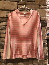ROXY Women's Long Sleeved orange and white striped Hooded Pullover Size Large