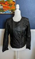 Pins and Needles Anthropologie Black Faux Leather Moto Zip Jacket Sz Medium M