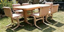 Danish Deluxe dining setting 6 leather chairs & dining table, Parker,Tessa era