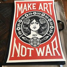 """Shepard Fairey OBEY! MAKE ART NOT WAR 24"""" x 36""""Offset Litho Signed  RARE ICON"""