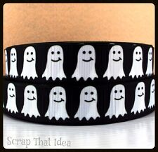 "CUTE GHOST  Ribbon. 7/8"" GROSGRAIN.  Scrapbooking/Bows.  Spooky,Halloween,Creepy"