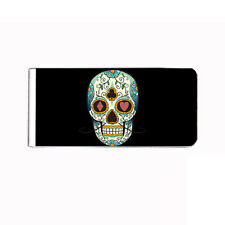 Metal Money Clip Cash Bills Credit Card Metal Holder Skull D 20