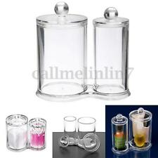 Q-tip Clear Acrylic Cotton Ball Swab Holder Round Makeup Box Organizer Case UK