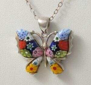 VINTAGE MURANO MILLEFIORI ART GLASS STERLING SILVER BUTTERFLY PENDANT NECKLACE