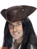 Adults Pirate Tricorn Hat Mens Ladies Caribbean Buccaneer Fancy Dress Accessory
