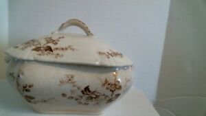 Antique Smith & Ford Semi Porcelain Covered Dish Rd No 236942 Circa 1884 Brown