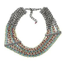 """FERN FINDS : Stunning Beaded 11-Row Chain multi-color 17"""" Necklace"""