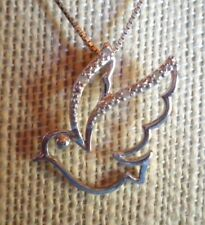 CUTE STERLING SILVER FLYING BIRD DOVE PENDANT