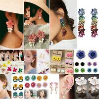 Women's Girls Crystal Rhinestone Flowers Ear Studs Earrings Dangle Drop Jewelry
