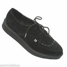 T.U.K. A8138 Tuk Shoes Pointed Lace Up Creepers  Black Suede Casual Creepers