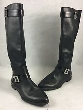 Calvin Klein Tracie Tall Leather Boots Women's Size US 7M Black $199 Original