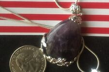 "Crystal Gemstone Teardrop Pendant Flower Bead Purple  20"" Sterling Silver chain"