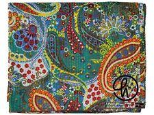 Indian Paisley Design Cotton Kantha Quilt Blanket Bedding Bedspreads&Coverlet