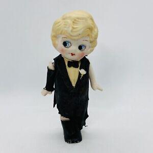 Vintage Bisque Wedding Cake Topper Groom Doll Googly Eye Crepe Paper Tuxedo