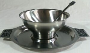 ROGERS-INSILCO Fashion Stainless Mid-Century GRAVY SAUCE Boat DISH PLATE SPOON