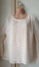■ Bnwt (£20) Size 14 Cream Crochet Lace Top. Draping Flared Cuff  (P89)