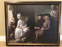 Vintage French Dutch Reproduction Oil Painting of Generation Family Scene Framed