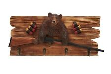 Grizzly Bear With Shut Gun Wood Carving Wall Hook Cabin Rustic Decor