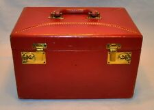 VINTAGE SHORTRIP  RED LADY MAKE UP CASE COW HIDE LEATHER LUGGAGE