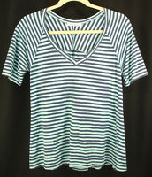 Cut Loose Tunic Top Blue Aqua Striped V-neck Short Sleeve Linen Hi-Lo Hemline L