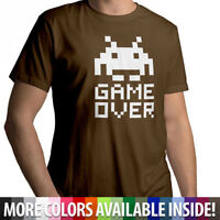 Space Invader Game Over 8 Bit Retro Shirt Mens Crew Neck Unisex Tee T-Shirt S~3X