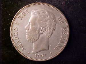 SPAIN 5 PESETAS 1871 (1874) SMALL SCRATCH BY RIGHT STAR