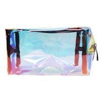 Laser Transparent Holographic Cosmetic Zipper Bag Makeup Pouch Pen Pencil Case D