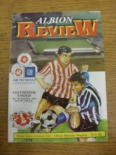 07/09/1991 WITTON Albion V Colchester United [Ultimo non LEAGUE STAGIONE] (Team Chan