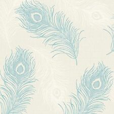 Viola Teal Peacock Feather Wallpaper Textured Vinyl Silver Glitter 40914