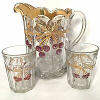 ANTIQUE NORTH WOOD PITCHER SET OF 3 CHERRY & CABLE CHERRIES & THICK GOLD 56 OZ.